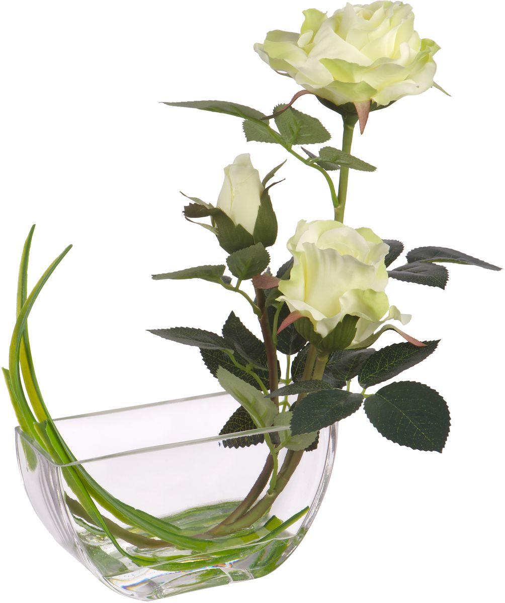 Цветы декоративные Engard Розы, в вазе, высота 32 смYW-25Искусственные цветы Engard - это популярное дизайнерское решение для создания природного колорита и гармонии в пространстве. Изящная белая роза в стеклянной вазе, выполненная из высококачественного материала, передающего неповторимую естественность, является достойной альтернативой живым цветам. Не требует постоянного ухода. Высота: 32 см.