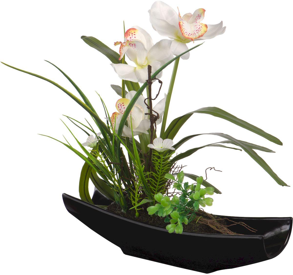 Цветы декоративные Engard Орхидея, в ладье, цвет: черный, 28 х 7 х 33,5 смYW-31Цветочные композиции Engard - это уникальное дизайнерское решение для создания природного колорита и гармонии в пространстве. Белые орхидеи в черной ладье выполнены из высококачественного материала, передающего неповторимую естественность и является достойной альтернативой живым цветам. Не требует постоянного ухода. Высота: 30 см.