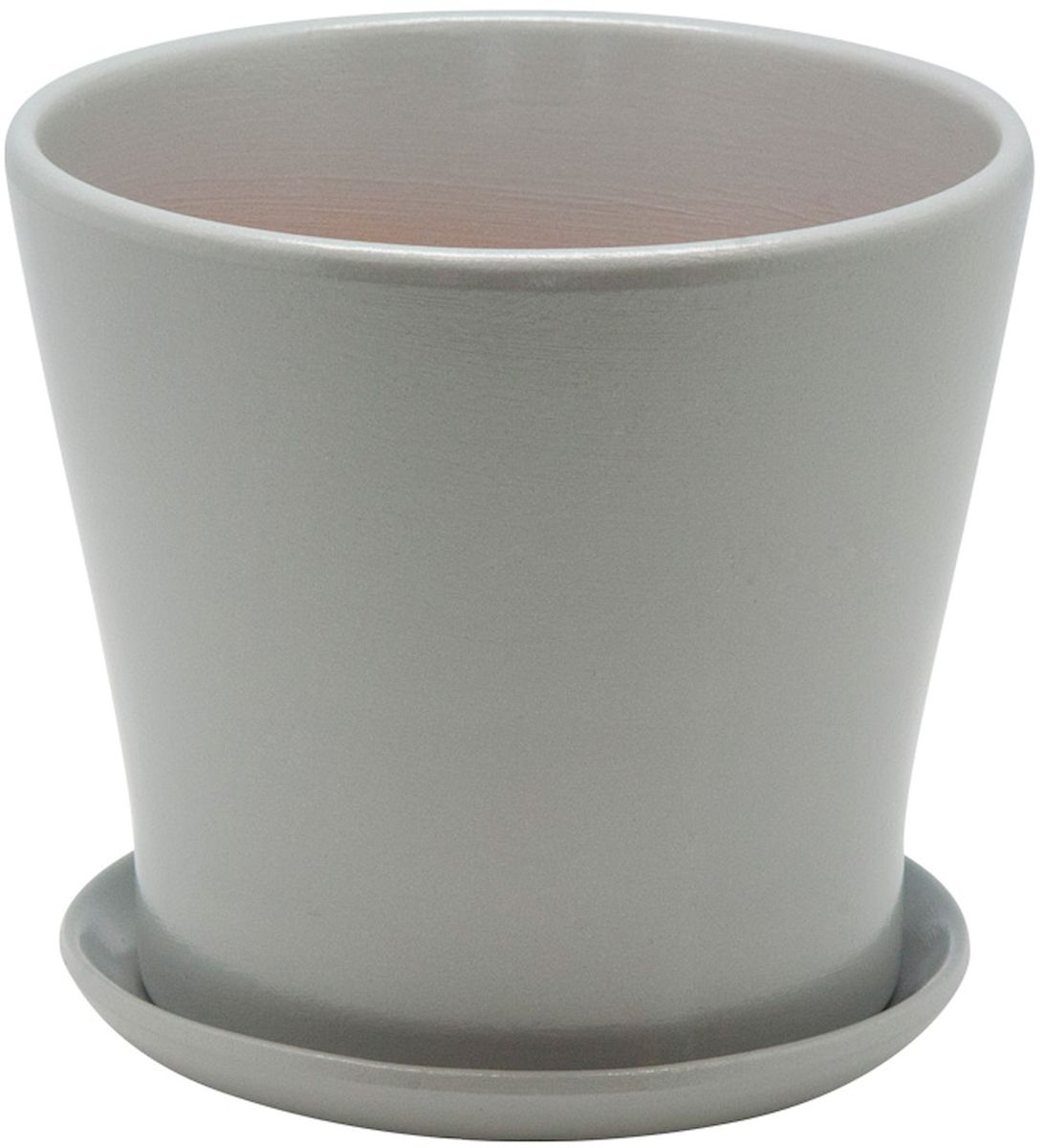 Горшок цветочный Engard, с поддоном, цвет: серебристый, 2,4 л1092019Керамический горшок - это идеальное решение для выращивания комнатных растений и создания изысканности в интерьере. Керамический горшок сделан из высококачественной глины в классической форме и оригинальном дизайне.