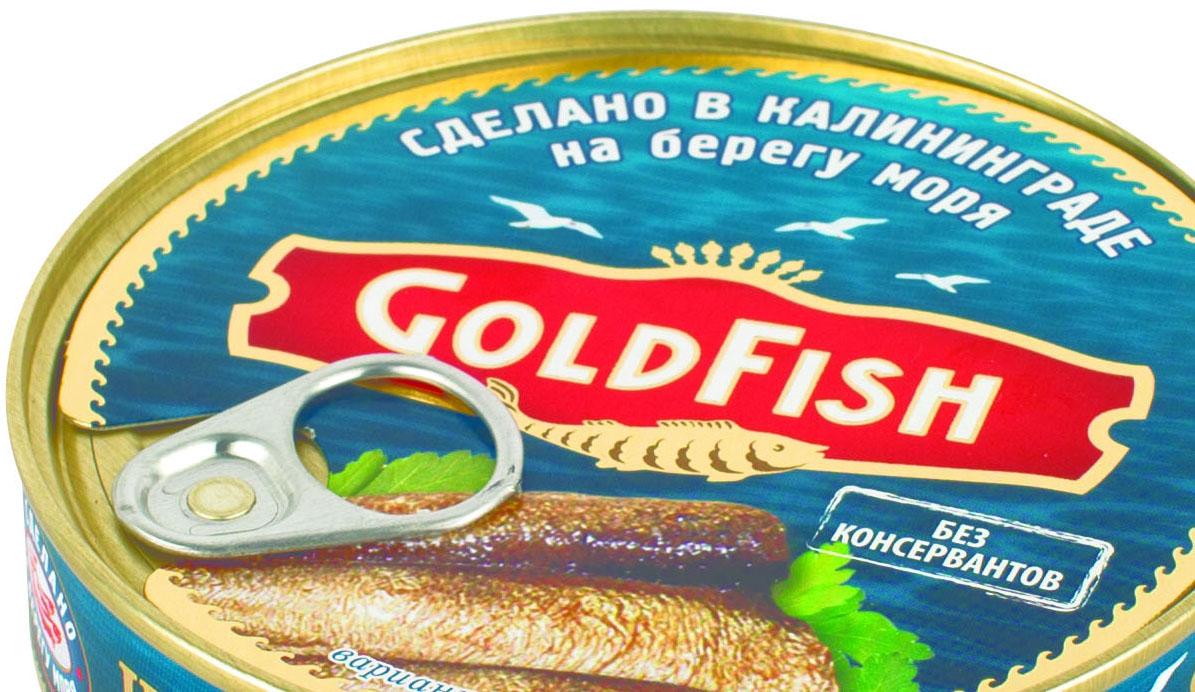 Gold Fish Шпроты классические в масле из балтийской кильки, 160 г0120710Настоящие отборные шпроты, копченые на ольховых опилках. Сделано в Калининграде.