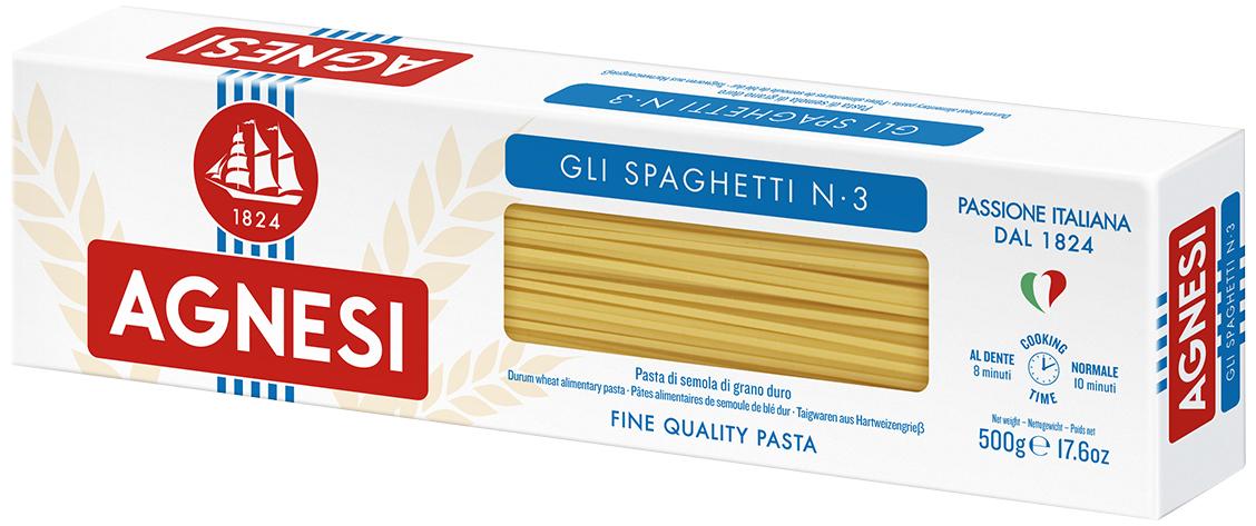 Agnesi макаронные изделия спагетти, 500 г0120710Варить в кипящей подсоленной воде (100 г продукта на 1 л воды) в течении 9 минут
