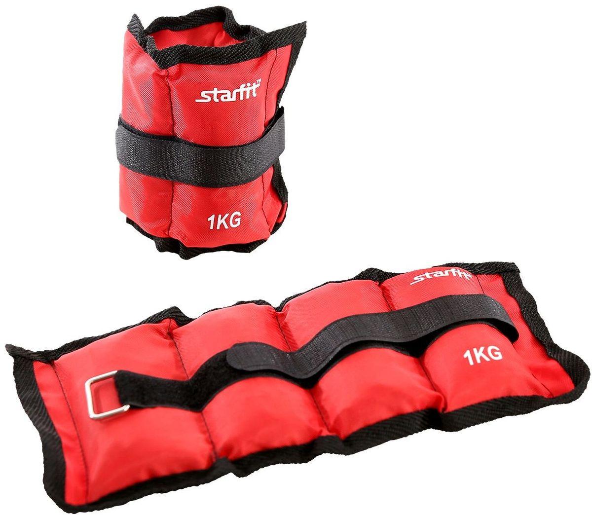 Утяжелители Starfit  WT-401 , цвет: красный, 1 кг, 2 шт - Фитнес