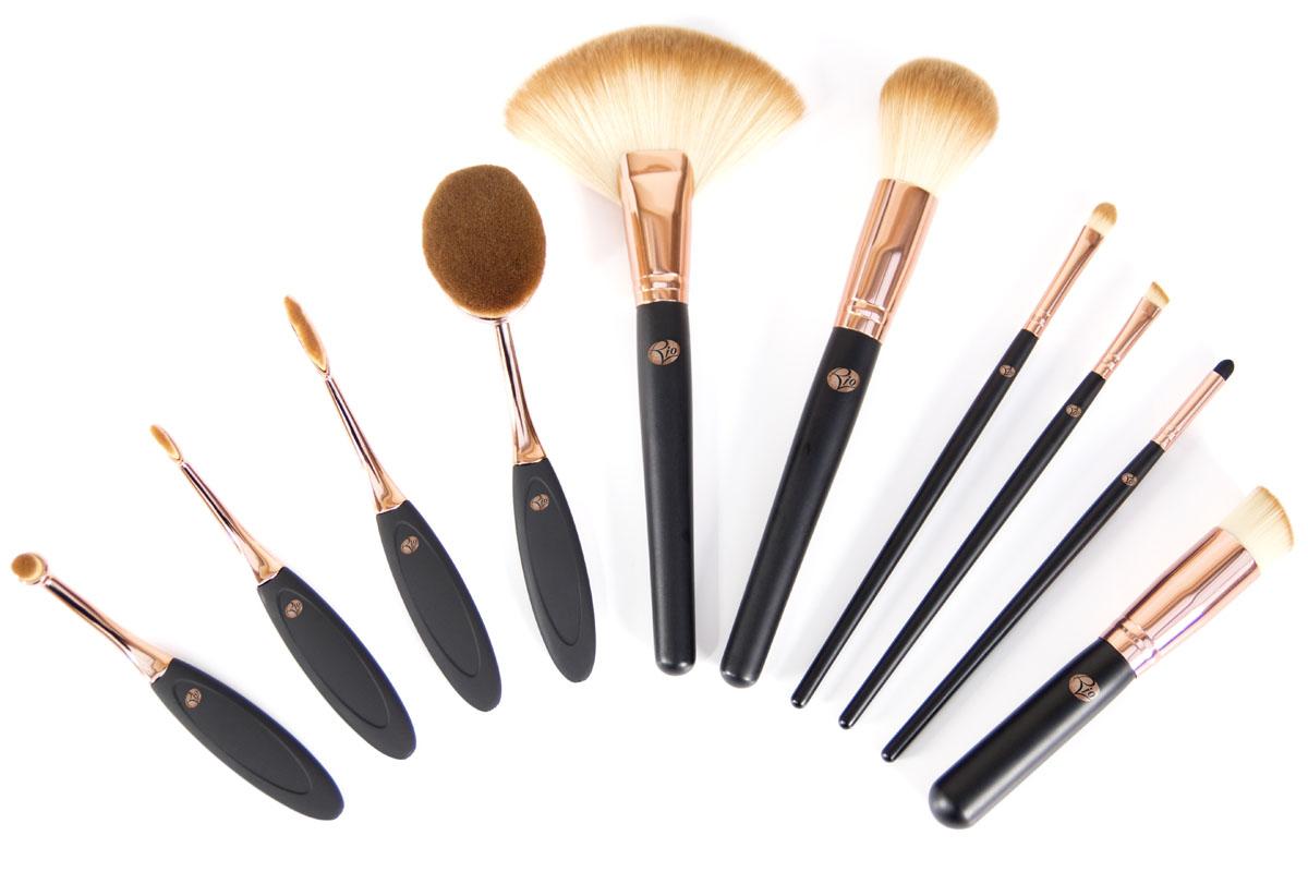 Rio Профессиональный набор кистей для нанесения макияжа Brco, 10 предметов набор кистей для макияжа самара