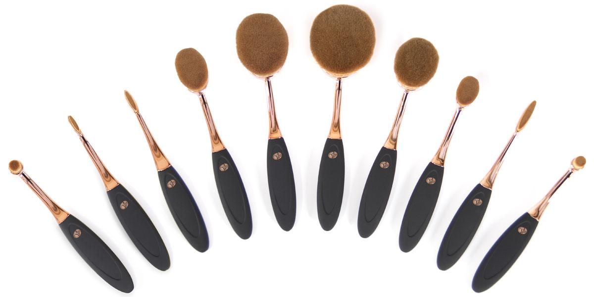 Rio Профессиональный набор кистей для нанесения макияжа Brch, микрофибра, 10 предметов кисти для макияжа одесса набор