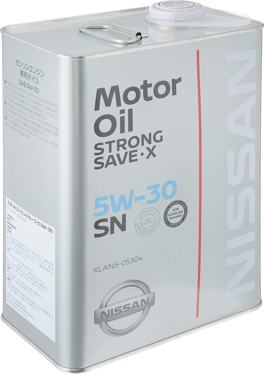 Масло моторное Nissan Strong Save X, класс вязкости 5W30, 4 лKLAN5-05304Оригинальное синтетическое моторное масло Nissan Strong Save X SN. Это всесезонное энергосберегающее моторное масло для бензиновых двигателей компании Ниссан, в том числе турбированных двигателей. Соответствует последней категории SN по API. Моторное масло Nissan 5W30 SN выпускается вместо масла Nissan STRONG SAVE X SM 5W-30 которое снято с производства и полностью заменяет его. Подходит для всех бензиновых двигателей компании Ниссан, где рекомендована вязкость 5W30, например Teana, X-Trail, Qashqai. Товар сертифицирован.