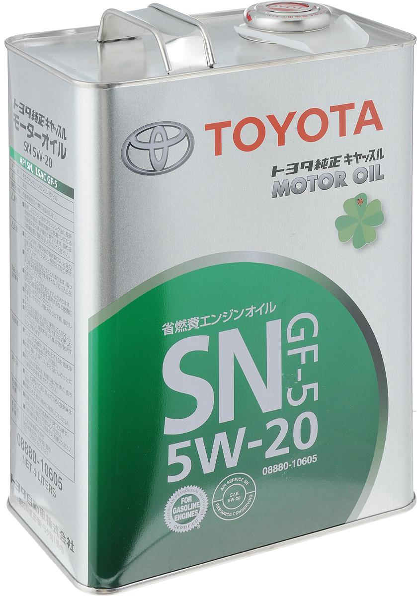 Моторное масло Toyota, класс вязкости 5W20, 4 л2706 (ПО)TOYOTA 5W20- это современное оригинальное моторное масло. Рекомендуется применять во всех бензиновых двигателях автомобилей марки Тойота, выпущенных после 2001 года. Полное название товара - TOYOTA Motor Oil SAE 5W20 API Sn/GF-5. Является HC-синтетикой (гидрокрекинг-синтетика), но по своим свойства абсолютно не уступает современной синтетике, а большинстве случаев даже превосходит их. Превосходно подходит для использования в регионах с холодным климатом.