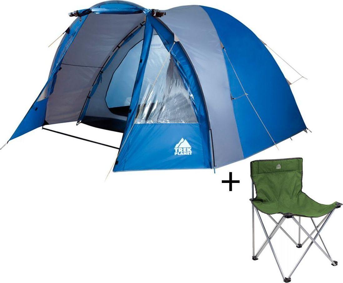 Палатка четырехместная TREK PLANET Indiana 4, цвет: синий, серый + Стул складной TREK PLANET Traveler, кемпинговый70112-70635Четырехместная двухслойная кемпинговая высокая палатка Trek Planet Indiana 4 с хорошей вентиляцией и большим и светлым тамбуром, хорошо подойдет для кемпинга выходного дня или отдыха на природе с семьей.ОСОБЕННОСТИ МОДЕЛИ: - Простая и быстрая установка,- Тент палатки из полиэстера с пропиткой PU надежно защищает от дождя и ветра. - Все швы проклеены.- Высокий, вместительный и светлый тамбур,- Большие обзорные окна в тамбуре,- Дно из прочного водонепроницаемого армированного полиэтилена позволяет устанавливать палатку на жесткой траве, песчаной поверхности, глине и т.д.- Дуги из прочного стеклопластика;- Внутренняя палатка из дышащего полиэстера, обеспечивает вентиляцию помещения и позволяет конденсату испаряться, не проникая внутрь палатки;- Вентиляционное окно в спальном отделении,- Удобная D-образная дверь на входе во внутреннюю палатку,- Москитная сетка на входе в спальное отделение в полный размер двери,- Внутренние карманы для мелочей во внутренней палатке,- Возможность подвески фонаря в палатке;Для удобства транспортировки и хранения предусмотрен чехол из полиэстера, с двумя ручками и закрывающийся на застежку-молнию. Характеристики: Количество мест: 4Размер палатки: 270 см х (220+150) см х 185 см.Размер внутренней палатки: 270 см х 220 см х 185 см.Цвет: синий, серый.Размер в сложенном виде: 20 см х 20 см х 68 см.Материал внешнего тента: 100% полиэстер, пропитка PU.Водостойкость: 2000 мм.Материал внутренней палатки: 100% дышащий полиэстер.Материал пола: 100% полиэтилен.Материл дуги: стеклопласик 11 мм.Вес палатки: 8,7 кг.Артикул: 70112Производитель: Китай. Стул складной Trek Planet Traveler, кемпинговый, 48х40х46x74,5 смДостаточно широкое сиденье и спинка складного стула Traveler гарантия комфорта на пикнике, рыбалке, в походе.Добавьте к этому легкий вес, прочный материал с защитой от ультрафиолетового излучения и ножки с защитой из проч