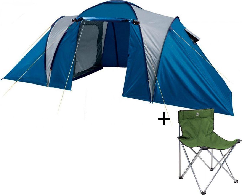 Палатка четырехместная TREK PLANET  Toledo Twin 4 , цвет: синий, серый + Стул складной TREK PLANET  Traveler , кемпинговый - Палатки и тенты