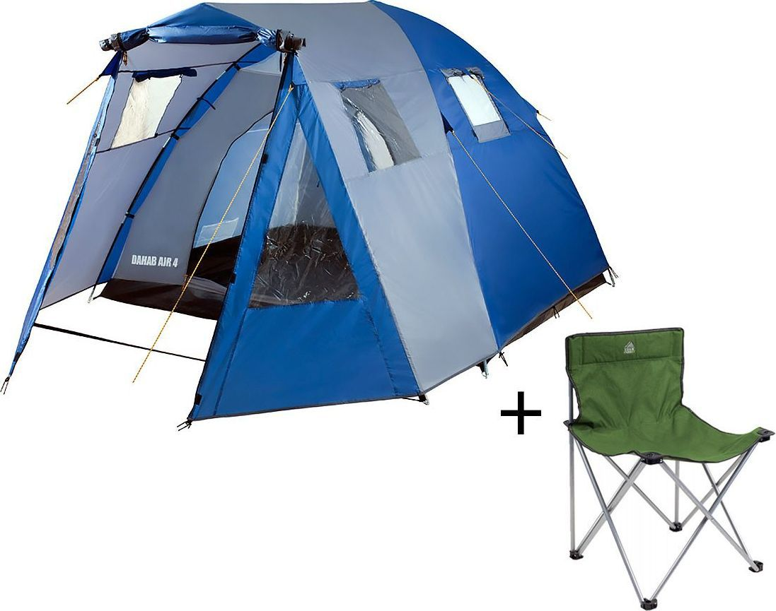 Палатка четырехместная Trek Planet Dahab Air 4, цвет: синий, серый + Стул складной Trek Planet Traveler, кемпинговый, 48х40х46x74,5 смперфорационные unisexЧетырехместная двухслойная кемпинговая палатка Trek Planet Dahab Air 4 с вместительным светлым тамбуром, обзорными окнами и двумя входами во внутреннюю палатку с противоположных сторон.ОСОБЕННОСТИ МОДЕЛИ: - Тент палатки из полиэстера с пропиткой PU надежно защищает от дождя и ветра. - Все швы проклеены.- Высокий, вместительный и светлый тамбур,- Четыре обзорных окна со шторками во тамбуре,- Дно из прочного водонепроницаемого армированного полиэтилена позволяет устанавливать палатку на жесткой траве, песчаной поверхности, глине и т.д.- Дуги из прочного стеклопластика;- Внутренняя палатка из дышащего полиэстера, обеспечивает вентиляцию помещения и позволяет конденсату испаряться, не проникая внутрь палатки;- Два входа во внутреннюю палатку с противоположных сторон,- Вентиляционные окна в спальном отделении,- Москитная сетка на каждом входе во внутреннюю палатку в полный размер двери;- Внутренние карманы для мелочей во внутренней палатке,- Возможность подвески фонаря в палатке;Для удобства транспортировки и хранения предусмотрен чехол из прочного полиэстера OXFORD, с двумя ручками и закрывающийся на застежку-молнию. Характеристики: Количество мест: 4Цвет: синий, серый.Размер палатки: 250 см х (140+210+50) см х 175 см.Размер внутренней палатки: 250 см х 210 см х 175 см.Материал внешнего тента: 100% полиэстер, пропитка PU.Водостойкость: 3000 мм.Материал внутренней палатки: 100% дышащий полиэстер.Материал пола: 100% полиэтилен.Материл дуги: стеклопластик 11 мм + сталь 16 мм.Размер в сложенном виде: 21 см х 21 см х 64 см.Вес палатки: 8,0 кг.Артикул: 70234.Производитель: Китай. Стул складной Trek Planet Traveler, кемпинговый, 48х40х46x74,5 смДостаточно широкое сиденье и спинка складного стула Traveler гарантия комфорта на пикнике, рыбалке, в походе.Добавьте к этому легкий вес, прочный материал с защитой от ультрафиолетово