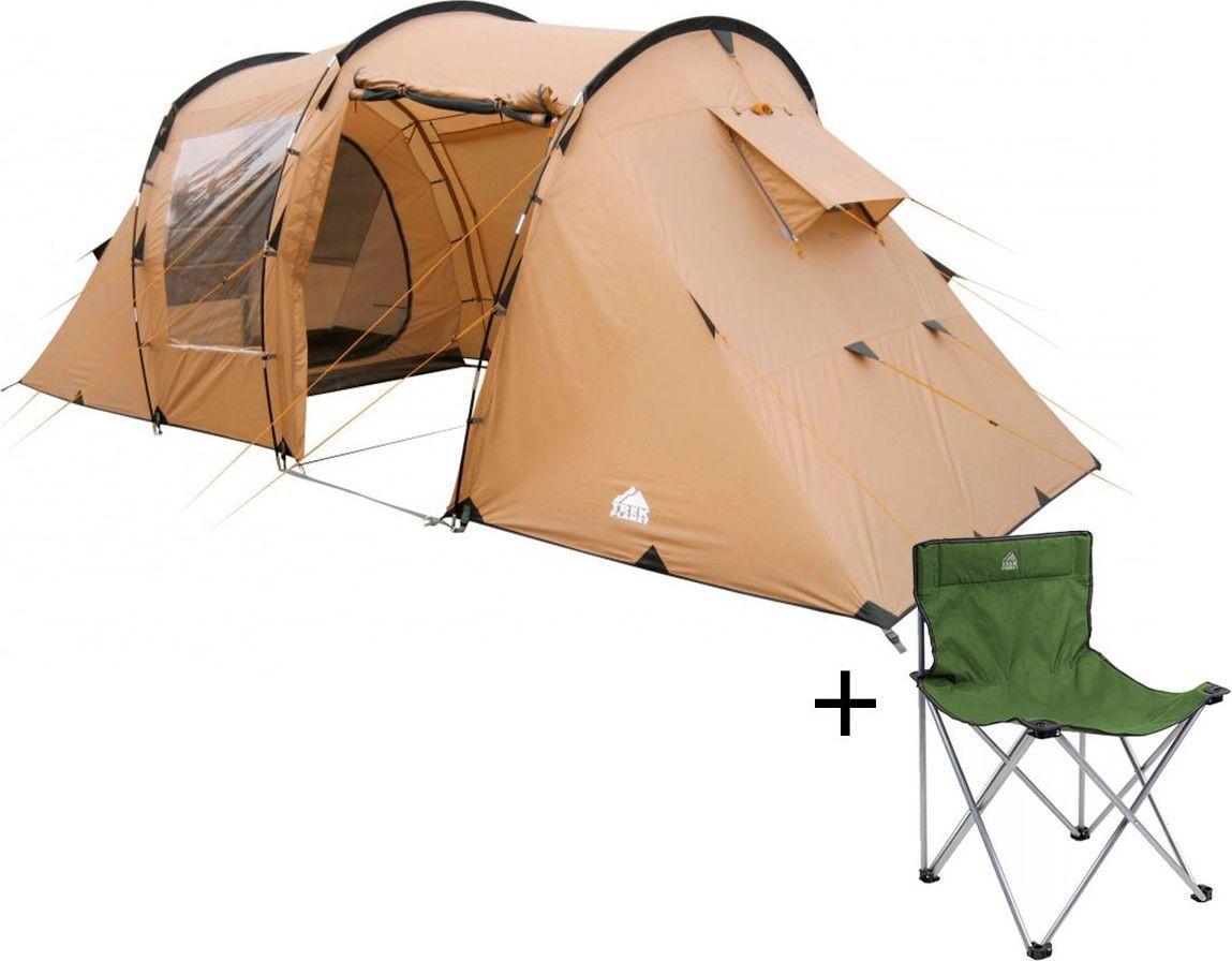 Палатка четырехместная Trek Planet Omaha Twin 4, цвет: песочный + Стул складной Trek Planet Traveler, кемпинговый, 48х40х46x74,5 см67742Четырехместная двухслойная современная кемпинговая палатка Trek Planet Omaha Twin 4 с двумя раздельными спальными отделениями, отличной вентиляцией, большим и светлым внутренним помещением между спальными отделениями, позволяющим расположиться внутри всей семьей или небольшой компании отдыхающих. Благодаря двум большим обзорным окнам со шторками, достигается отличный обзор из палатки!ОСОБЕННОСТИ МОДЕЛИ: - П-образная конструкция увеличивает полезное внутреннее пространство палатки по сравнению с традиционной конструкцией.- Тент палатки из полиэстера с пропиткой PU надежно защищает от дождя и ветра. - Все швы проклеены.- Большое и высокое внутреннее помещение между спальными отделениями палатки, где свободно размещается кемпинговый стол и стулья на 4 человек.- Большие обзорные окна со шторками в тамбуре,- Дно из прочного водонепроницаемого армированного полиэтилена позволяет устанавливать палатку на жесткой траве, песчаной поверхности, глине и т.д.- Дуги из прочного стекловолокна;- Внутренние палатки из дышащего полиэстера, обеспечивают вентиляцию помещения и позволяют конденсату испаряться, не проникая внутрь палатки;- Трехпозиционные вентиляционные окна в спальных отделениях (закрыто, частично открыто, полностью открыто).- Москитная сетка на каждой D-образной двери во внутреннюю палатку в полный размер двери;- Органайзер на передней стенке каждого спального отделения- Внутренние карманы для мелочей в каждом отделении;- Возможность подвески фонаря в палатке;Для удобства транспортировки и хранения предусмотрен чехол из прочного полиэстера OXFORD, с двумя ручками и закрывающийся на застежку-молнию. Характеристики: Количество мест: 4Цвет: песочный.Размер: 230 см х (140+140+220) см х 195 см.Размер внутренней палатки: 215см х 195см х 140смМатериал внешнего тента: 100% полиэстер, пропитка PU.Водостойкость: 3000 мм.Материал внутренней палат