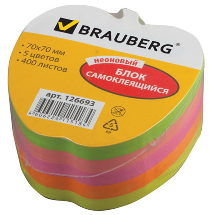 Brauberg Бумага для заметок Яблоко с липким слоем 7 x 7 см 400 листов -  Бумага для заметок, стикеры, закладки