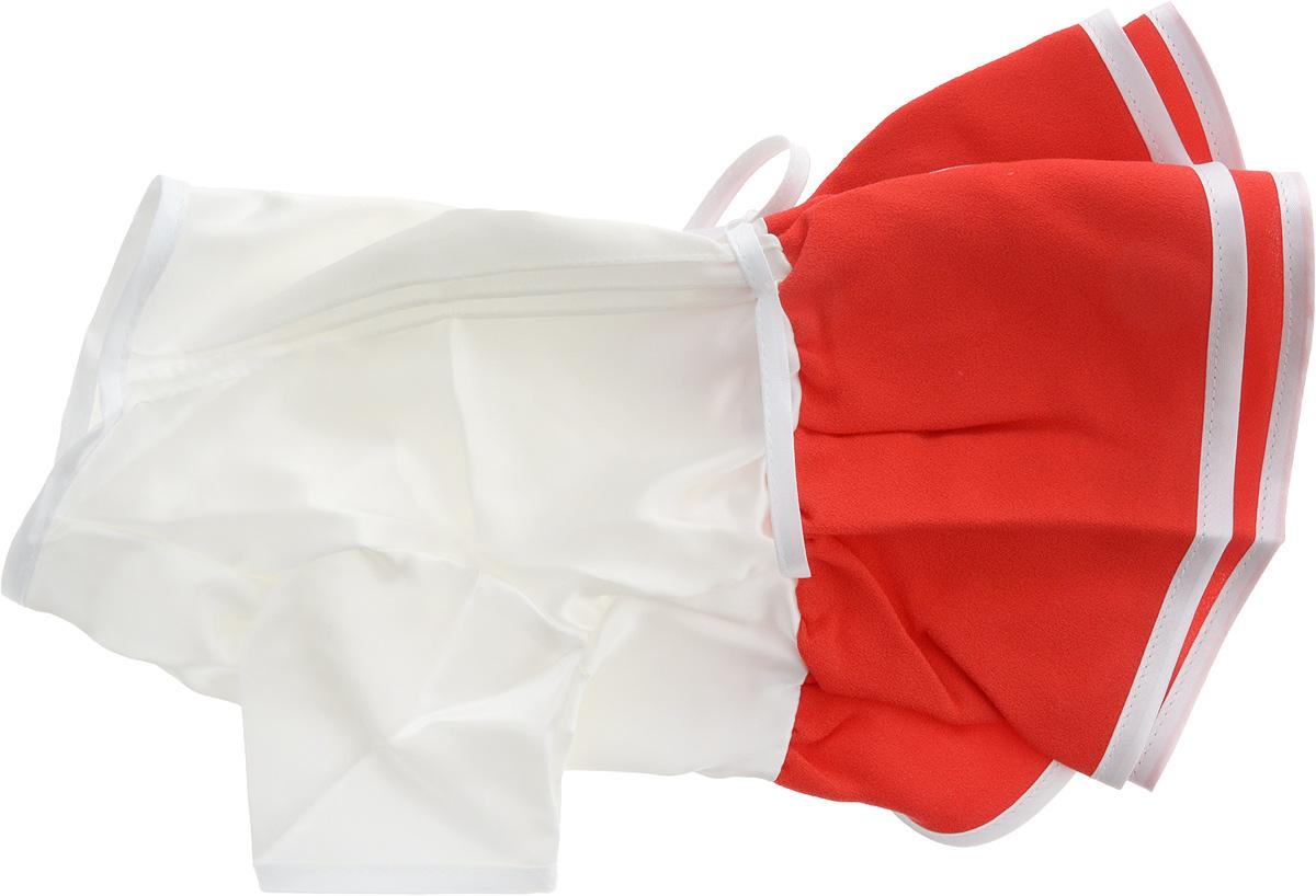 Платье для собак GLG Летнее ассорти, цвет: красный. Размер L451-24Платье для собак GLG Летнее ассорти выполнено из высококачественного текстиля и оформлено надписью PretaPet и декоративным бантиком. Короткие рукава не ограничивают свободу движений, и собачка будет чувствовать себя в ней комфортно. Изделие застегивается с помощью кнопок на животе, а также дополнительно имеет завязки на спинке.Модное и невероятно удобное платье защитит вашего питомца от пыли и насекомых на улице, согреет дома или на даче. К платью прилагаются запасные кнопки. Длина спины: 28-30 см. Объем груди: 43-45 см.