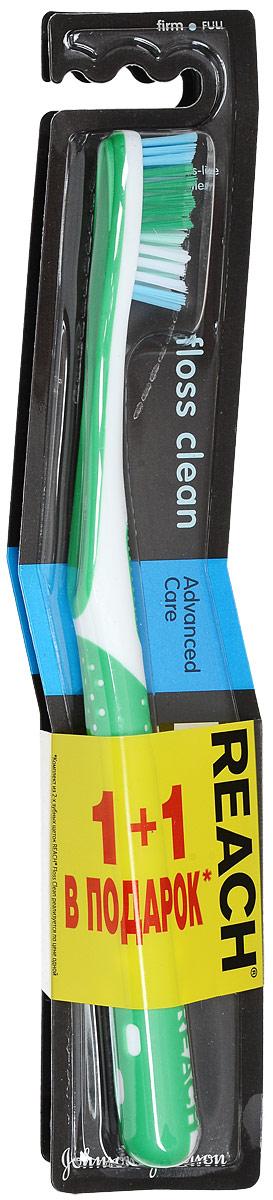 Reach Зубная щетка Floss Clean, жесткая, 1+1, цвет зеленыйFMS-101Уникальные тонкие щетинки глубоко проникают в самые узкие межзубные промежутки и превосходно очищают все поверхности зуба, как после использования зубной щетки и нити (флосса), поэтому щетка называется Floss Clean.Удаляет до 96% зубного налета даже в самых труднодоступных местах.Клинические исследования доказали, что Reach Floss Clean удаляет зубной налет со всех пяти поверхностей зубов. Товар сертифицирован.
