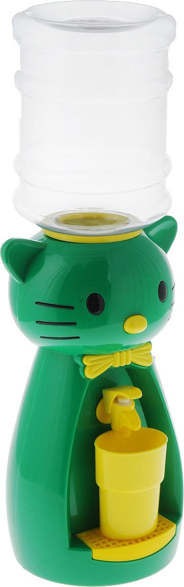 Мини-кулер для воды и сока HITT Мультик. Китти, цвет: зеленый, желтый, 2 лVT-1520(SR)Детский мини-кулер HITT Мультик. Китти выполнен из экологически чистого пластика. Изделие не греет и не охлаждает воду, поэтому вы можете не беспокоиться, что ребенок обожжется или простудит горло. Соки, компоты, отвары трав в этом кулере будут для малыша более привлекательны, чем лимонад и другие вредные для организма напитки.Кроха с удовольствием будет наливать напиток из кулера в небольшой стаканчик совсем как взрослый. Ребенок станет потреблять больше жидкости. Вам не придется уговаривать его выпить молоко или компот.Изделие легкое и компактное, поэтому его можно взять с собой на дачу или на пикник. Яркий дизайн, сочные цвета и веселый персонаж сделают такой кулер украшением стола на детском празднике.Стакан входит в комплект.Высота мини-кулера (с учетом бутылки): 49 см. Размер стаканчика: 6,5 х 5 х 8,5 см. Высота бутылки: 18 см.