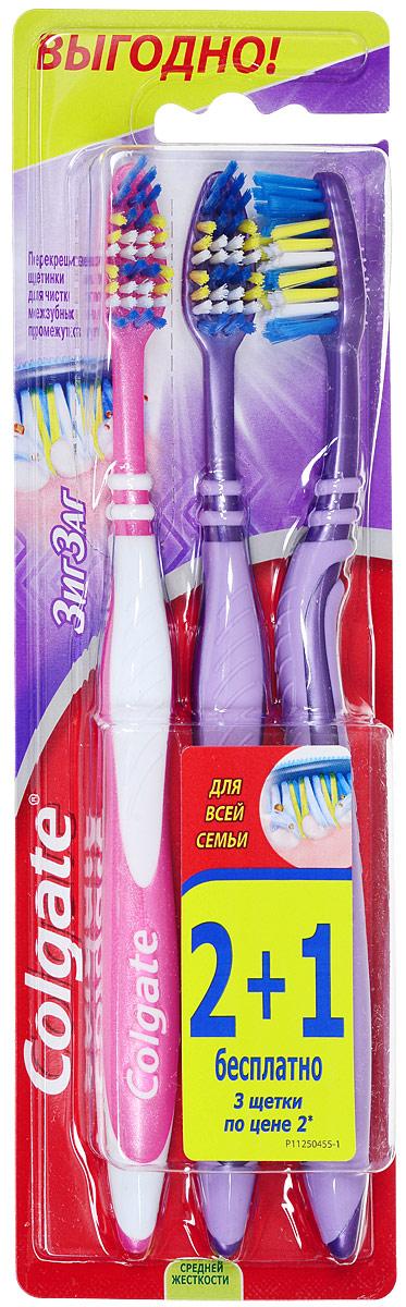 Colgate Зубная щетка Зиг-Заг, средней жесткости, 2+1, цвет сиреневый, розовыйSatin Hair 7 BR730MNПерекрещивающиеся щетинки зубной щетки Colgate Зиг-Заг глубоко и эффективно очищают межзубные промежутки.Удлиненные щетинки на кончике позволяют удалять налет с задних зубов, наиболее подверженных кариесу.Товар сертифицирован.