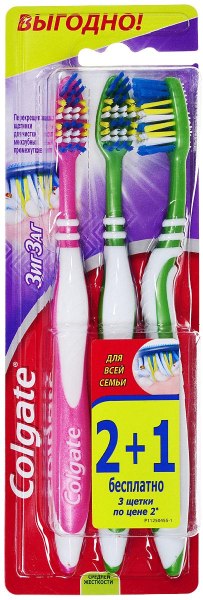 Colgate Зубная щетка Зиг-Заг, средней жесткости, 2+1, цвет розовый, зеленый5010777142037Перекрещивающиеся щетинки зубной щетки Colgate Зиг-Заг глубоко и эффективно очищают межзубные промежутки.Удлиненные щетинки на кончике позволяют удалять налет с задних зубов, наиболее подверженных кариесу.Товар сертифицирован.