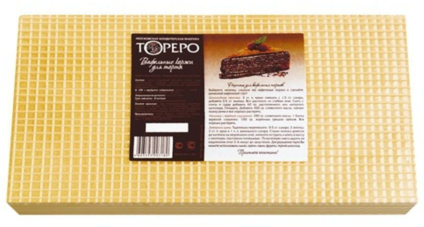 Тореро вафельные коржи для торта, 140 г0120710Коржи из вафель не зря уже многие годы считаются важным компонентом для каждой радушной хозяйки. Тонкие, пресные и хрустящие вафельные коржи – это универсальный полуфабрикат для приготовления различных блюд . К их достоинствам можно отнести удобство и простоту в использовании. Вафельные коржи содержат в себе много полезных элементов: магний, кальций, железо, пищевые волокна, фосфор. Не лишен этот полуфабрикат и витаминов: В2, РР, В1. Противопоказано при индивидуальной непереносимости глютена, сои.
