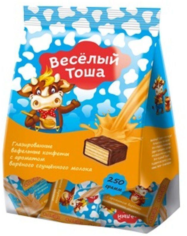 Веселый Тоша конфеты вафельные глазированные со сгущенным молоком, 250 г4603593003807Хрустящие мини вафли в нежной глазури Веселый Тоша в удобной порционной упаковке - увлекательное путешествие в мир вкуса.