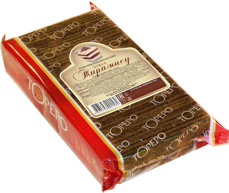 Тореро вафли с ароматом тирамису, 180 г0120710Хрустящие, ароматные вафли прекрасно сочетаются с чаем или кофе. Не сожержат ГМО, искусственных красителей и ароматизаторов.