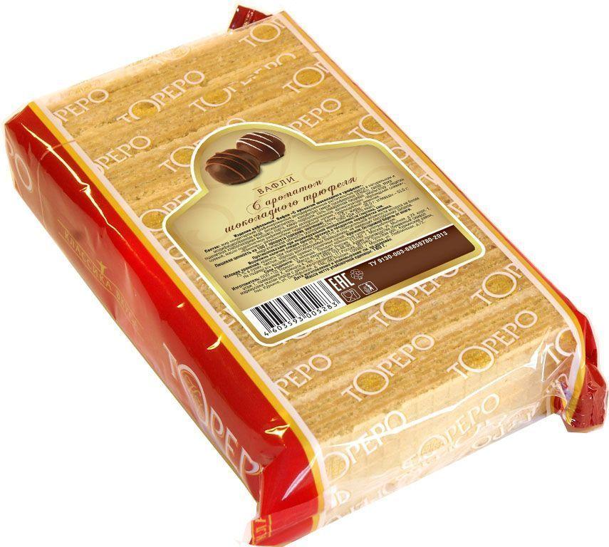 Тореро вафли шоколадный трюфель, 180 г0120710Хрустящие, ароматные вафли прекрасно сочетаются с чаем или кофе. Не сожержат ГМО, искусственных красителей и ароматизаторов.