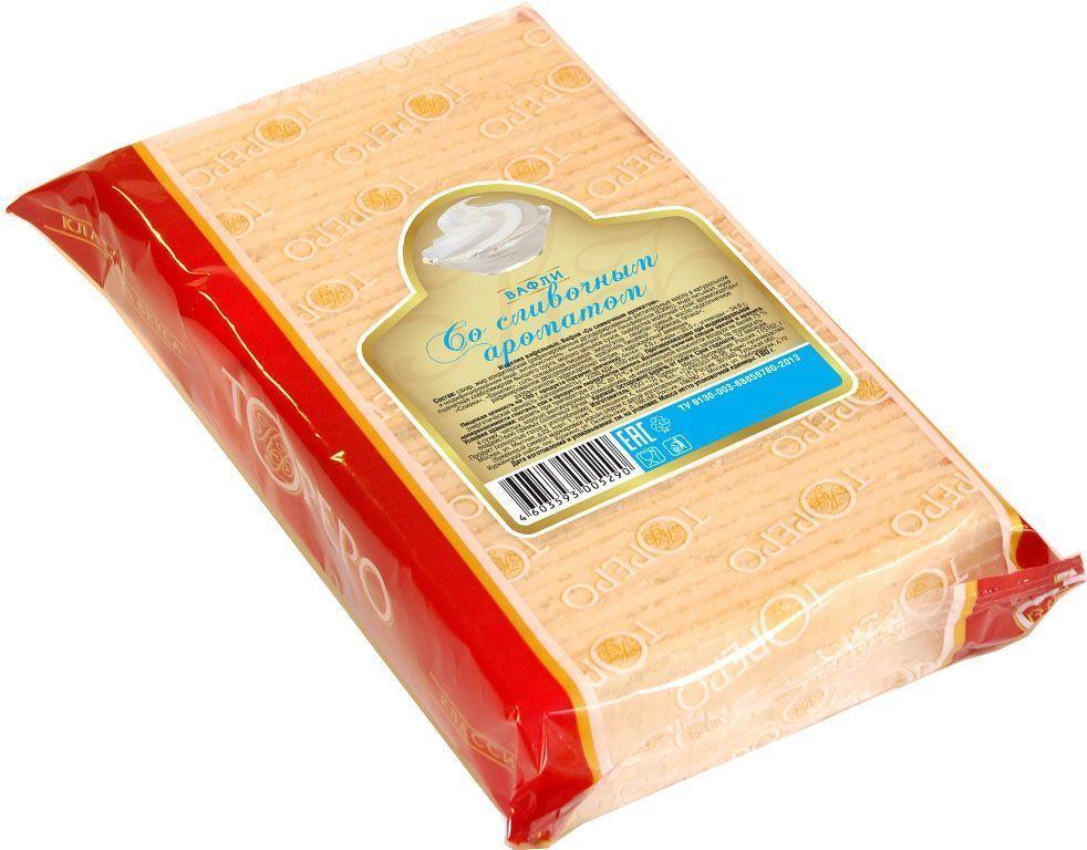 Тореро вафли со сливочным ароматом, 180 г0120710Хрустящие, ароматные вафли прекрасно сочетаются с чаем или кофе. Не сожержат ГМО, искусственных красителей и ароматизаторов.