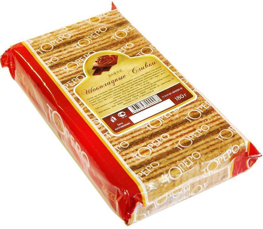 Тореро вафли с ароматом шоколадных сливок, 180 г0120710Хрустящие, ароматные вафли прекрасно сочетаются с чаем или кофе. Не сожержат ГМО, искусственных красителей и ароматизаторов.