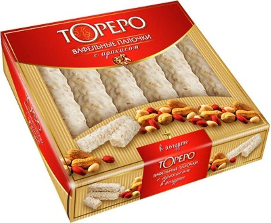 Тореро вафельные палочки в йогурте с арахисом, 220 г