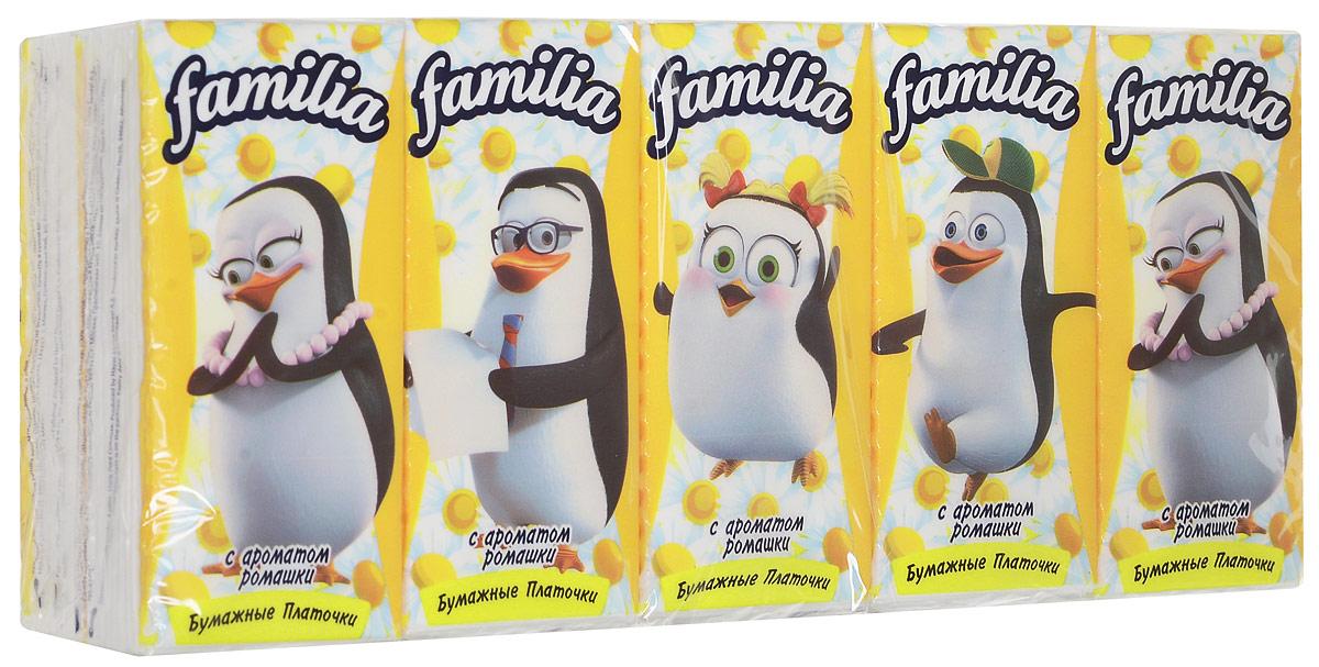 Familia Платочки носовые Ромашка, трехслойные, 10 x 10 шт5010777139655Familia Платочки носовые Ромашка, трехслойные, 10 x 10 шт