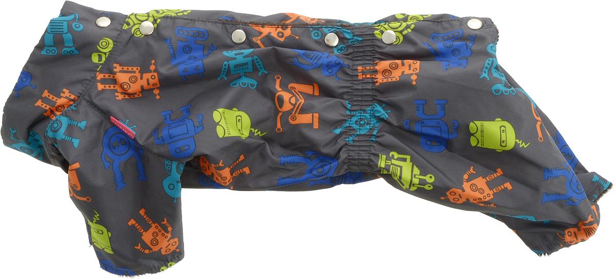 Комбинезон для собак Yoriki Робот, для мальчика. Размер XL. 453-1412171996Теплый комбинезон для собак Yoriki Робот отлично защитит вашего питомца в холодную погоду от осадков и ветра. Комбинезон изготовлен из водоотталкивающего полиэстера. Утеплитель из вискозы сохранит тепло и обеспечит уют во время зимних прогулок. Модель оформлена металлическими кнопками и дополнена эластичной резинкой в поясе. Благодаря такому комбинезону вашему питомцу будет комфортно наслаждаться прогулкой. Длина по спинке: 32 см.Объем груди: 46-50 см.