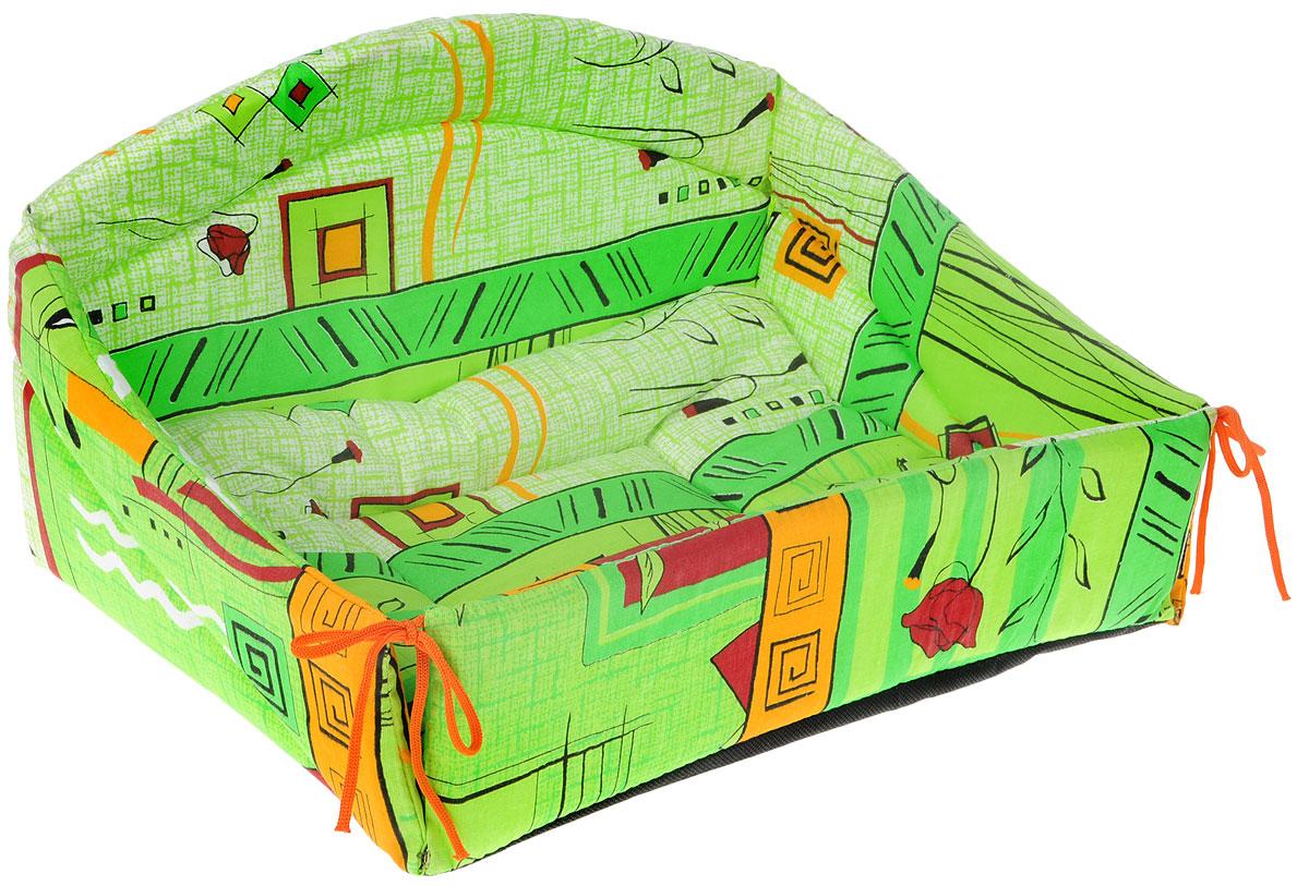Лежак для животных Elite Valley Диван, цвет: зеленый, 43 х 31 х 24 см. Л24/20120710Изящный лежак Elite Valley Диван обязательно понравится вашему питомцу. Изделие выполнено из высококачественной бязи, нетканого материала, а наполнитель - из поролона и синтепона. Он оснащен удобной спинкой и бортами. Передний бортик лежака можно откинуть или зафиксировать вертикально при помощи шнурков. Внутри лежака имеется мягкая съемная подстилка. Ваш любимец сразу же захочет забраться на лежак, там он сможет отдохнуть и подремать в свое удовольствие.Компактные размеры позволят поместить лежак где угодно, а приятная цветовая гамма сделает его оригинальным дополнением к любому интерьеру.Высота лежака (с учетом спинки): 24 см.