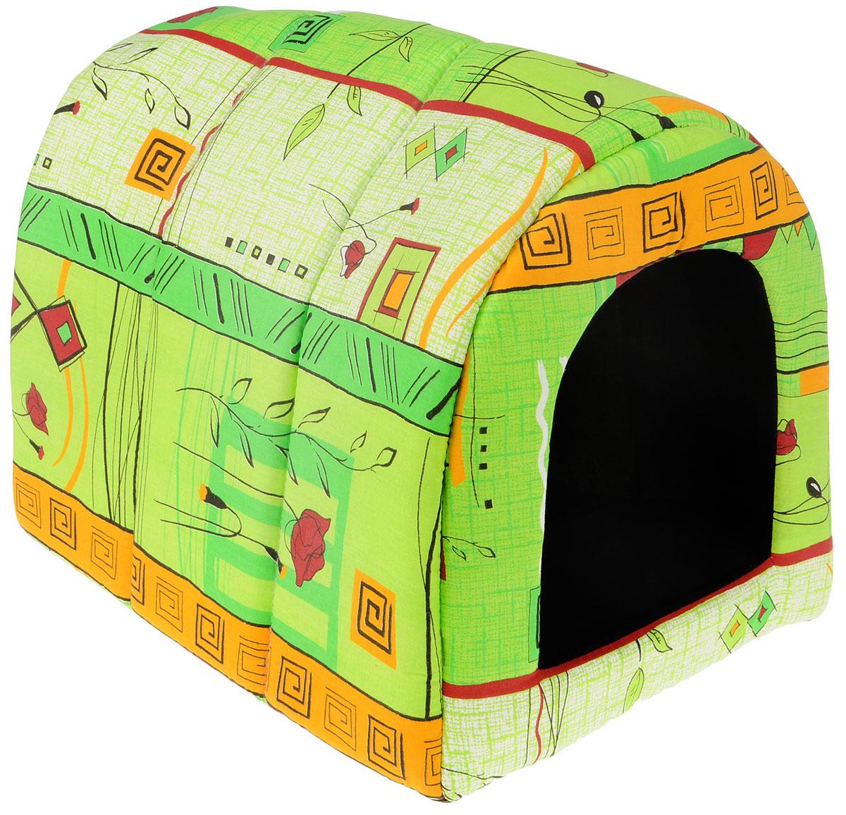 Домик для животных Elite Valley Норка, цвет: зеленый, оранжевый, 48 х 38 х 38 см. Л10/4Л-13/1_синий, розовыйДомик Elite Valley Норка непременно станет любимым местом отдыха вашего домашнего животного. Изделие выполнено из бязи и нетканого материала, а наполнитель - из поролона. Такой материал не теряет своей формы долгое время. Внутри имеется мягкая съемная подстилка.В таком домике вашему любимцу будет мягко и тепло. Он подарит вашему питомцу ощущение уюта и уединенности, а также возможность спрятаться.