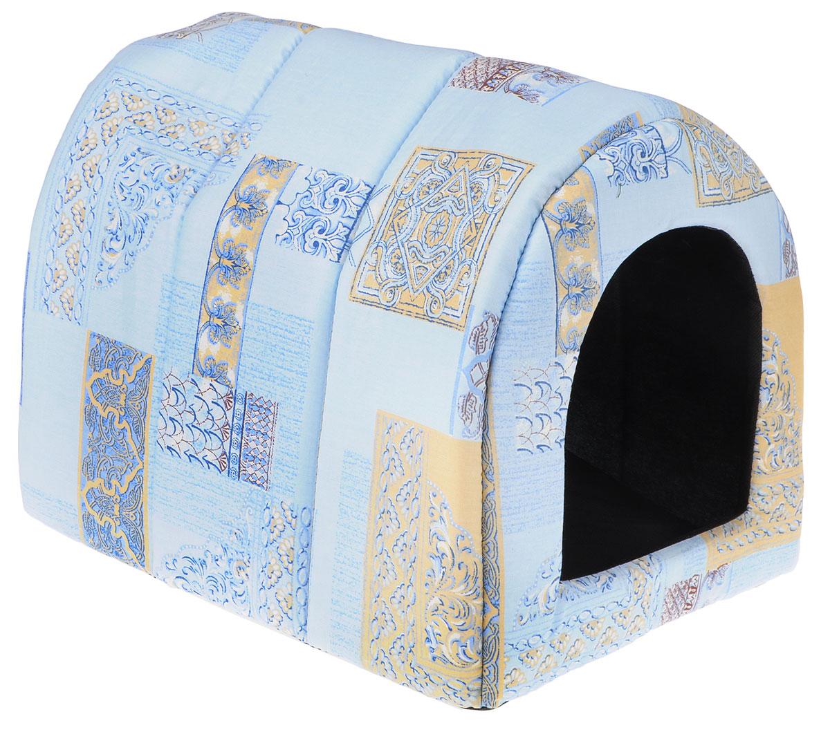 Домик для животных Elite Valley Норка, цвет: голубой, 48 х 38 х 38 см. Л10/40120710Домик Elite Valley Норка непременно станет любимым местом отдыха вашего домашнего животного. Изделие выполнено из бязи и нетканого материала, а наполнитель - из поролона. Такой материал не теряет своей формы долгое время. Внутри имеется мягкая съемная подстилка.В таком домике вашему любимцу будет мягко и тепло. Он подарит вашему питомцу ощущение уюта и уединенности, а также возможность спрятаться.