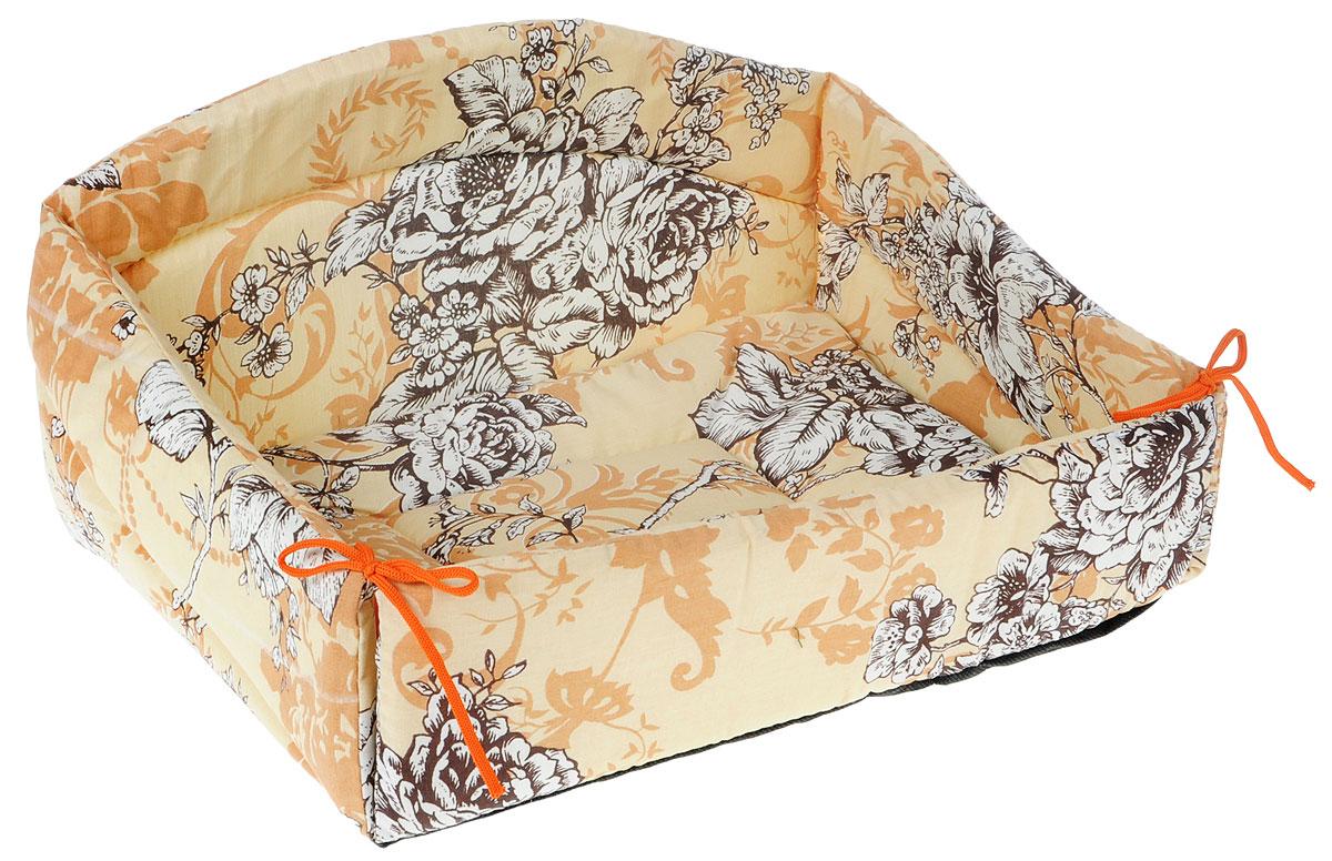 Лежак для животных Elite Valley Диван, цвет: бежевый, 43 х 31 х 24 см. Л24/2Л-7/4_салатовый, оранжевыйИзящный лежак Elite Valley Диван, обязательно понравится вашему питомцу. Изделие выполнено из высококачественной бязи, а наполнитель - из поролона и синтепона. Он оснащен удобной спинкой и бортами, а также мягкой съемной подстилкой. Передний бортик лежака можно откинуть или зафиксировать вертикально при помощи шнурков. Компактные размеры позволят поместить лежак, где угодно, а приятная цветовая гамма сделает его оригинальным дополнением к любому интерьеру.Высота лежака (с учетом спинки): 24 см.