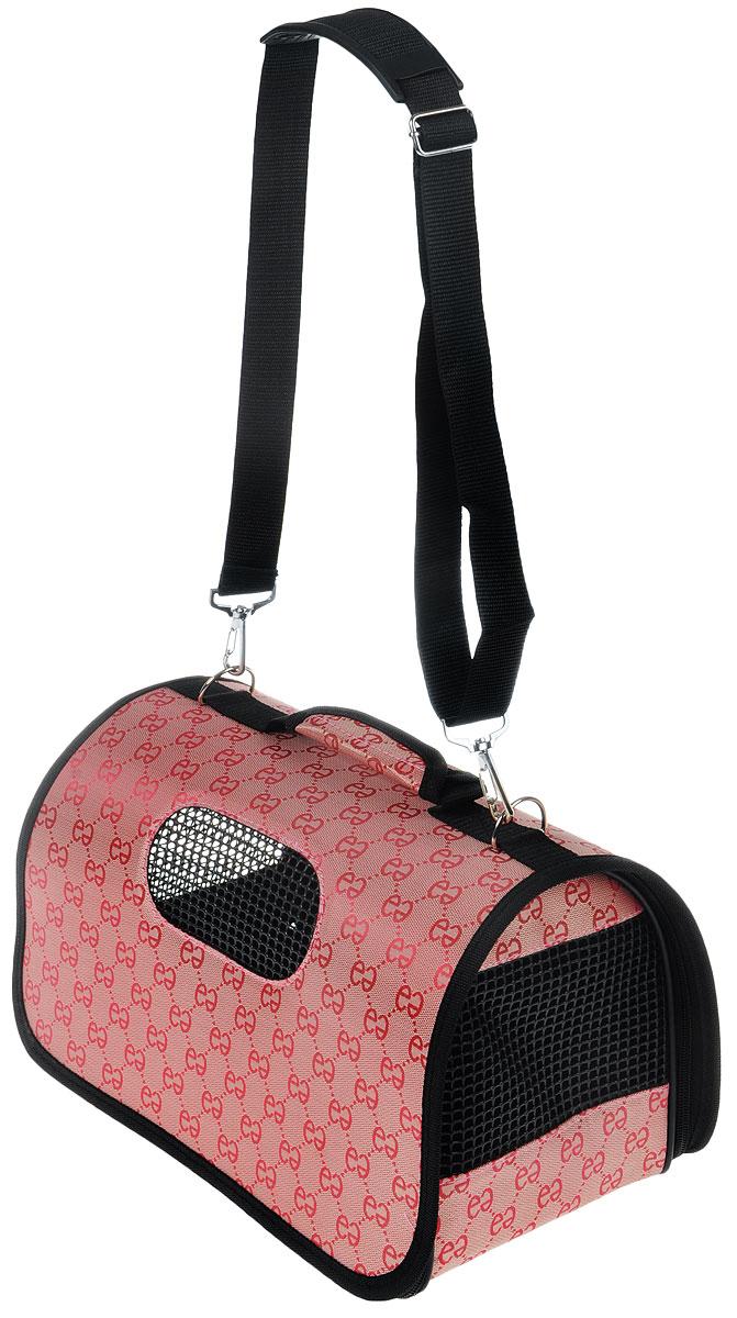 Сумка-переноска для животных Каскад, складная, цвет: черный, темно-розовый, 36 х 22 х 22 см сумка переноска каскад collection с белыми буквами цвет черный 38х17 см
