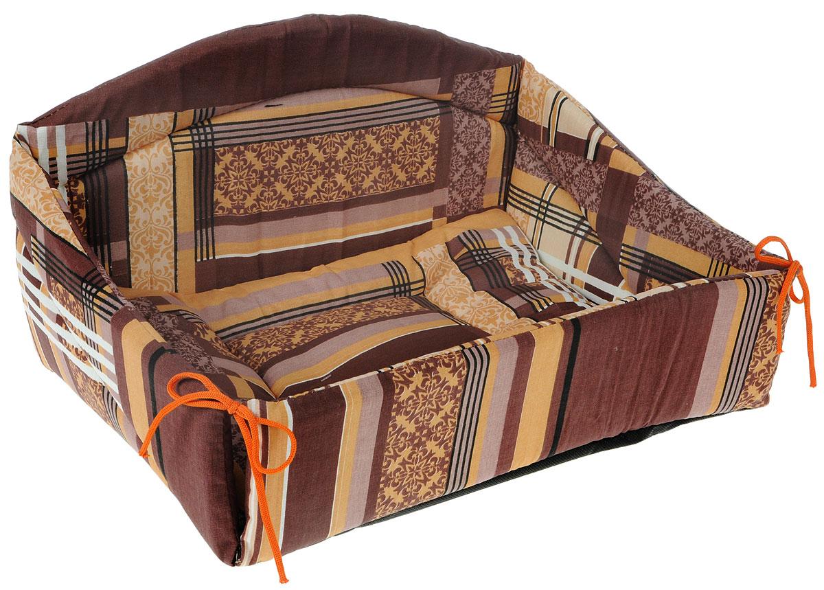 Лежак для животных Elite Valley Диван, цвет: коричневый, 43 х 31 х 24 см. Л24/212171996Изящный лежак Elite Valley Диван, обязательно понравится вашему питомцу. Изделие выполнено из высококачественной бязи, а наполнитель - из поролона и синтепона. Он оснащен удобной спинкой и бортами, а также мягкой съемной подстилкой. Передний бортик лежака можно откинуть или зафиксировать вертикально при помощи шнурков. Компактные размеры позволят поместить лежак, где угодно, а приятная цветовая гамма сделает его оригинальным дополнением к любому интерьеру.Высота лежака (с учетом спинки): 24 см.