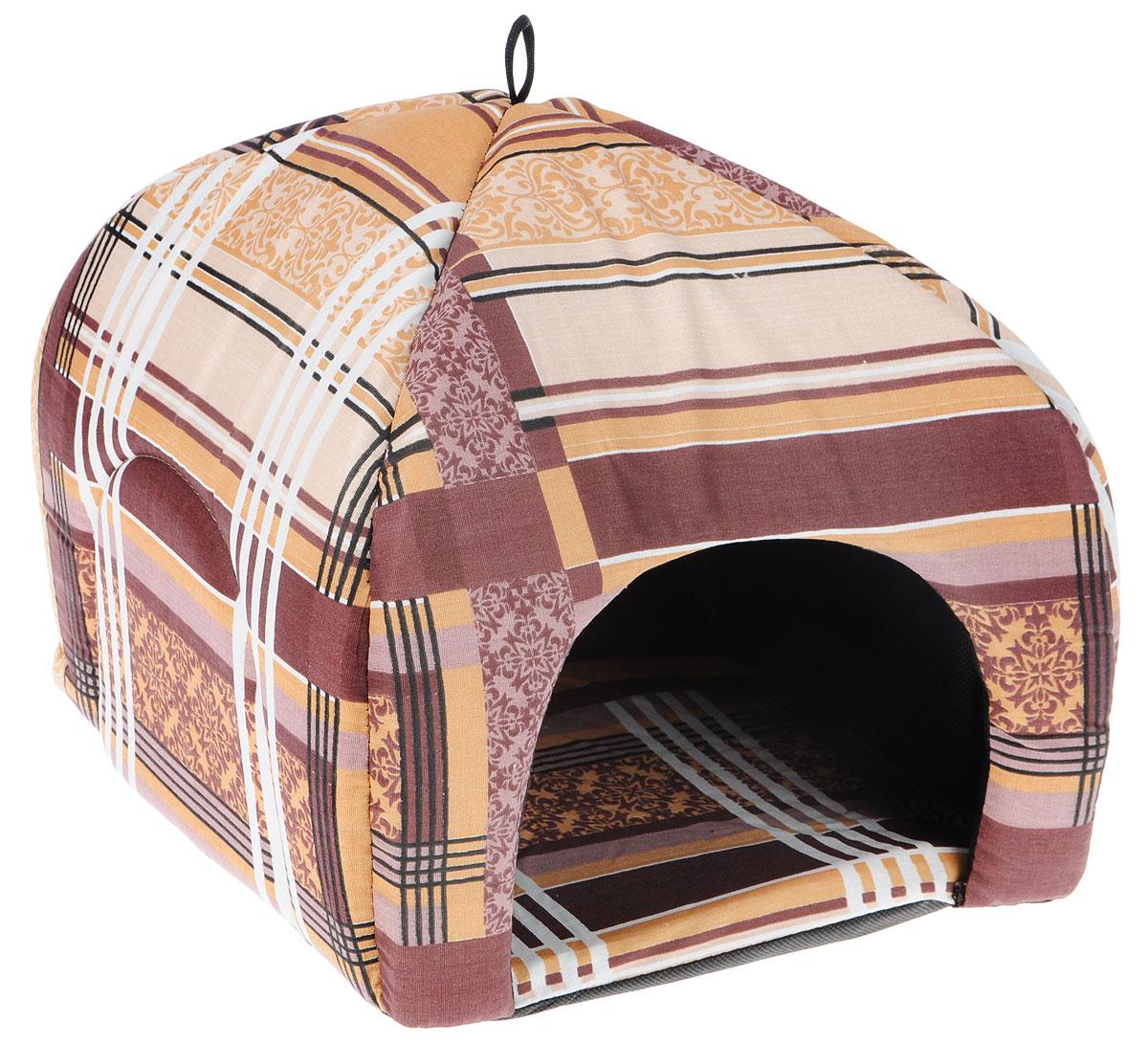 Лежак для животных Elite Valley Юрта, цвет: коричневый, 33 х 33 х 30 см. Л3/20120710Лежак Elite Valley Юрта непременно станет любимым местом отдыха вашего домашнего животного. Изделие изготовлено из бязи, а наполнитель выполнен из поролона. Такой материал не теряет своей формы долгое время. На таком лежаке вашему любимцу будет мягко и тепло. Он даст вашему питомцу ощущение уюта и уединенности, а также возможность подремать, отдохнуть и просто спрятаться.