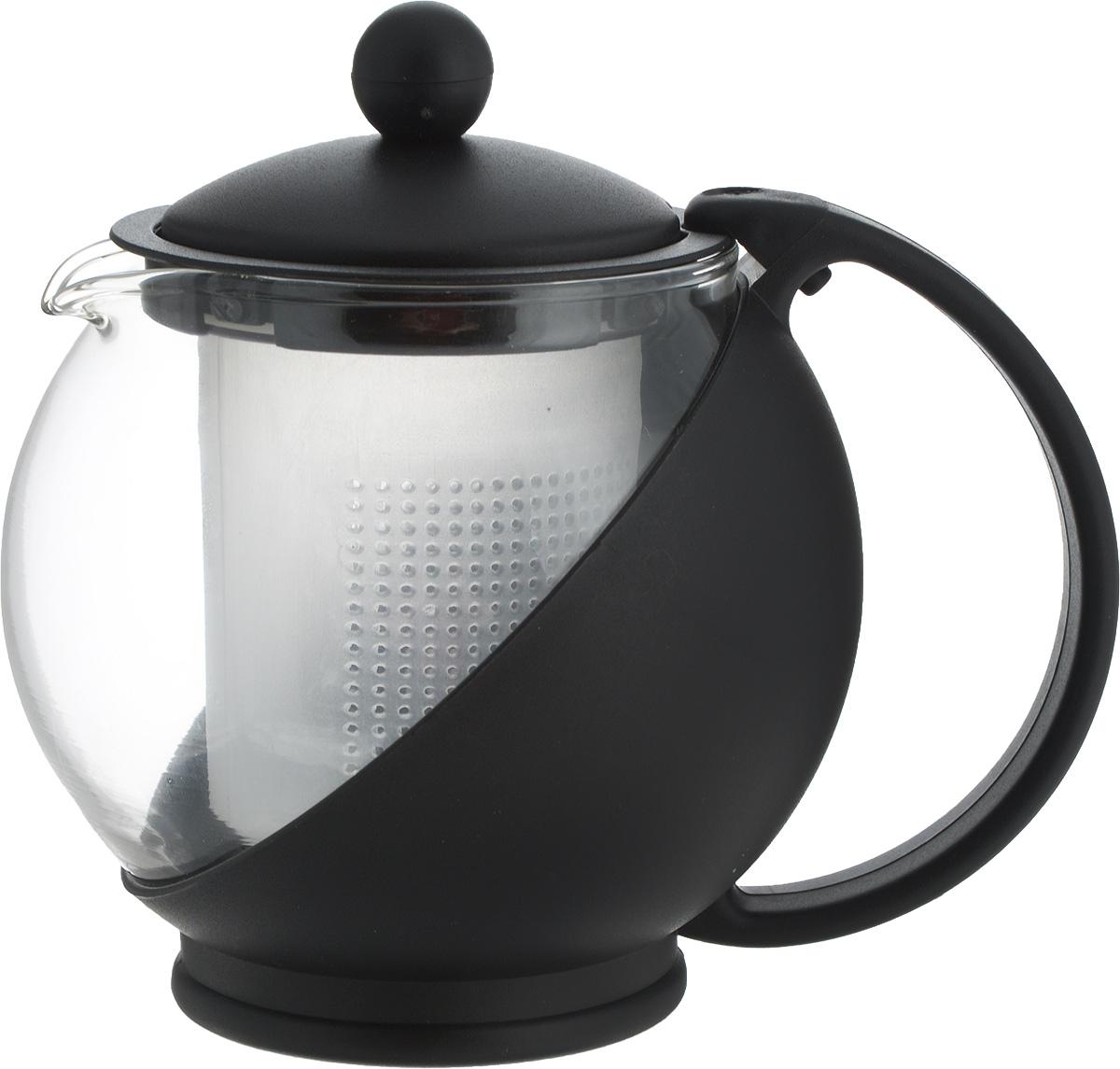 Чайник заварочный Miolla, с фильтром, цвет: черный, прозрачный, 500 мл. DHA020P/AVT-1520(SR)Заварочный чайник Miolla изготовлен из жаропрочного стекла и термостойкого пластика. Чай в таком чайнике дольше остается горячим, а полезные и ароматические вещества полностью сохраняются в напитке. Чайник оснащен фильтром и крышкой. Простой и удобный чайник поможет вам приготовить крепкий, ароматный чай. Разборная конструкция обеспечивает легкий уход. Нельзя мыть в посудомоечной машине. Не использовать в микроволновой печи.Диаметр чайника (по верхнему краю): 6,5 см.Высота чайника (без учета крышки): 9,5 см.Высота фильтра: 6,5 см.