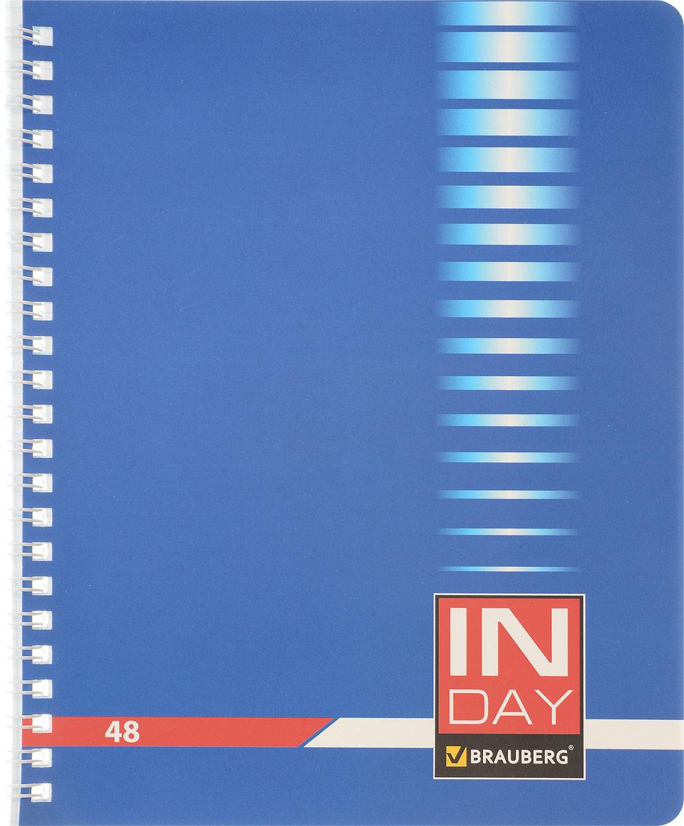 Brauberg Тетрадь In Day 48 листов в клетку цвет синий72523WDТетрадь Brauberg In Day для учебы и работы.Обложка, выполненная из плотного мелованного картона, позволит сохранить тетрадь в аккуратном состоянии на протяжении всего времени использования.Внутренний блок тетради, соединенный гребнем, состоит из 48 листов белой бумаги. Стандартная линовка в клетку голубого цвета не имеет полей.