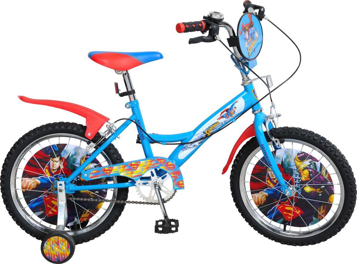 Велосипед детский Navigator Супермен, цвет: голубой, 18. ВН18080Костюм Охотник-Штурм: куртка, брюкиВелосипед 18 дюймов Navigator(2017) Superman для маленьких Supermanов