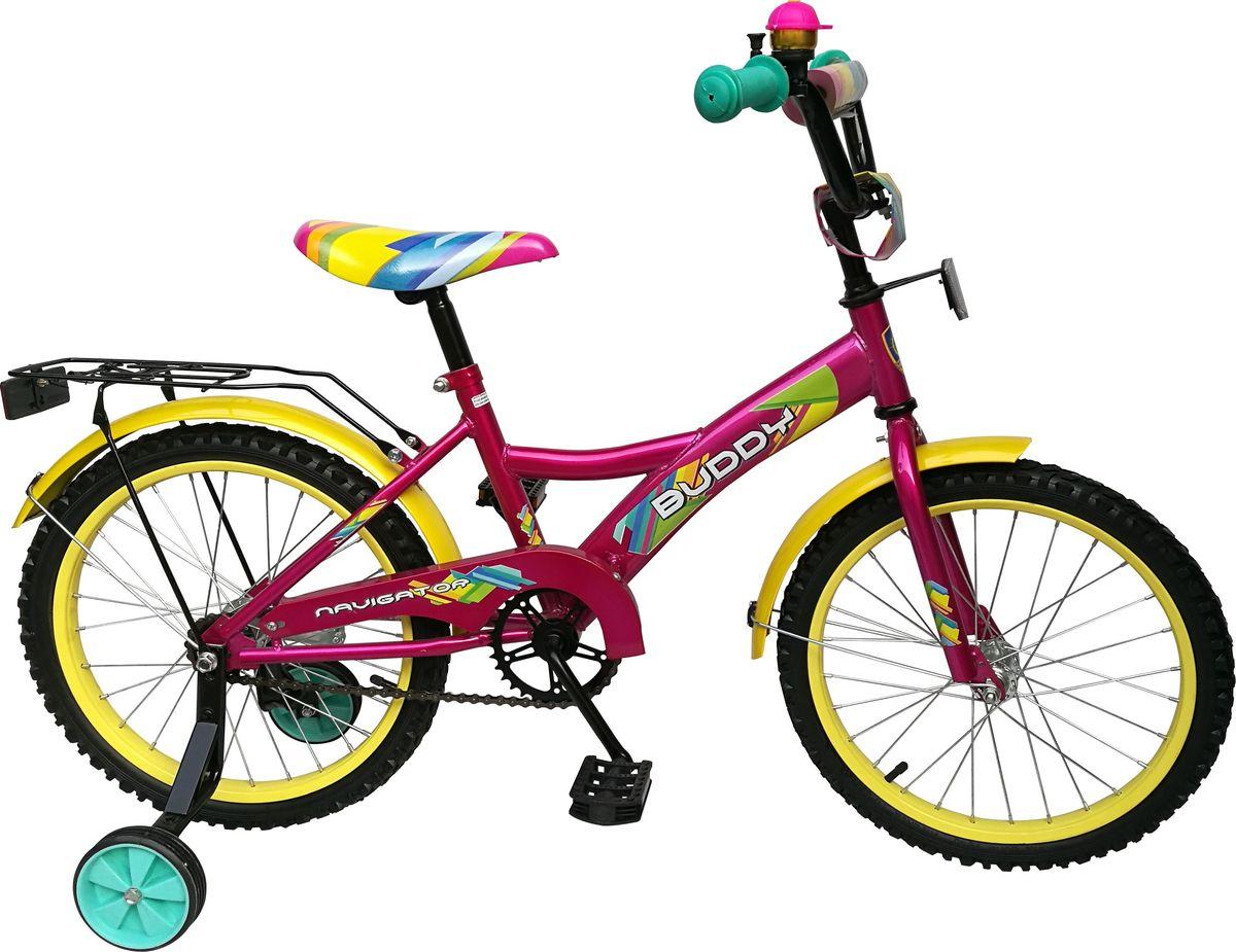 Велосипед детский Navigator Buddy, цвет: красный, 18. ВН18084332122-2337Велосипед 18 дюймов с ярким дизайном бюджетного ценового сегмента