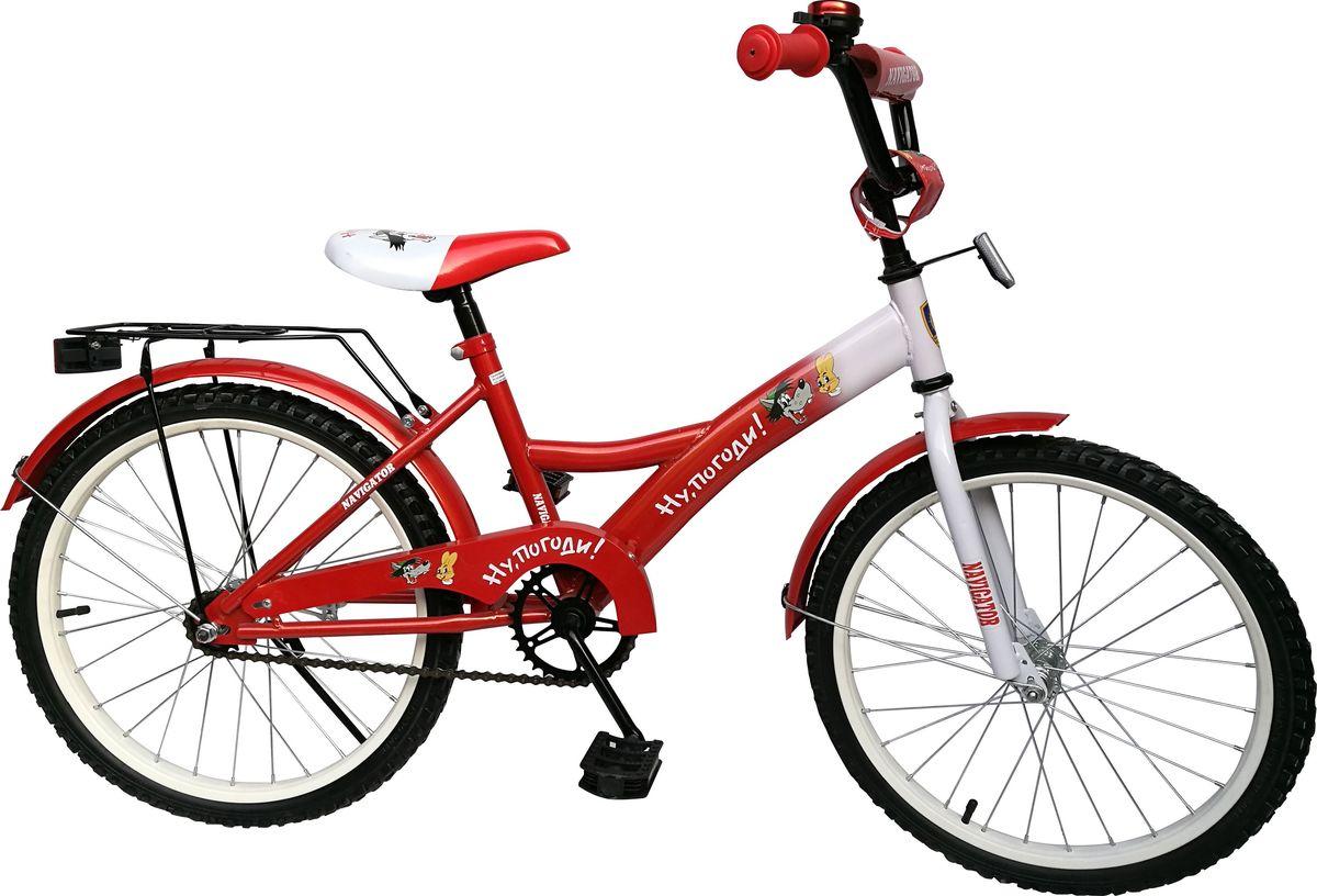 Велосипед детский Navigator Ну, Погоди!, цвет: красный, 20. ВН20175Z90 blackВелосипед 20 дюймов Navigator(2017) Ну, Погоди! с персонажами из любимого мультфильма