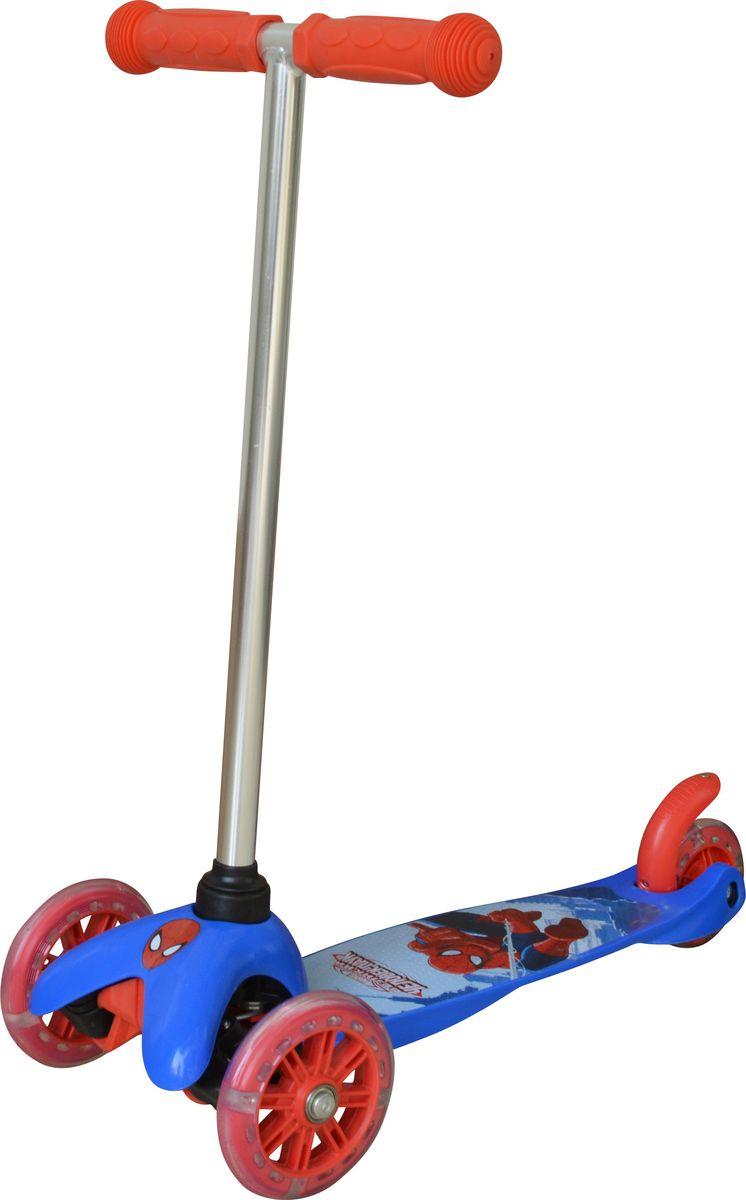 Самокат детский трехколесный 1 Toy Marvel Человек-Паук, со светящимися колесами, цвет: синий. Т58417KBO-1014Самокат трехколесный, управляется наклоном