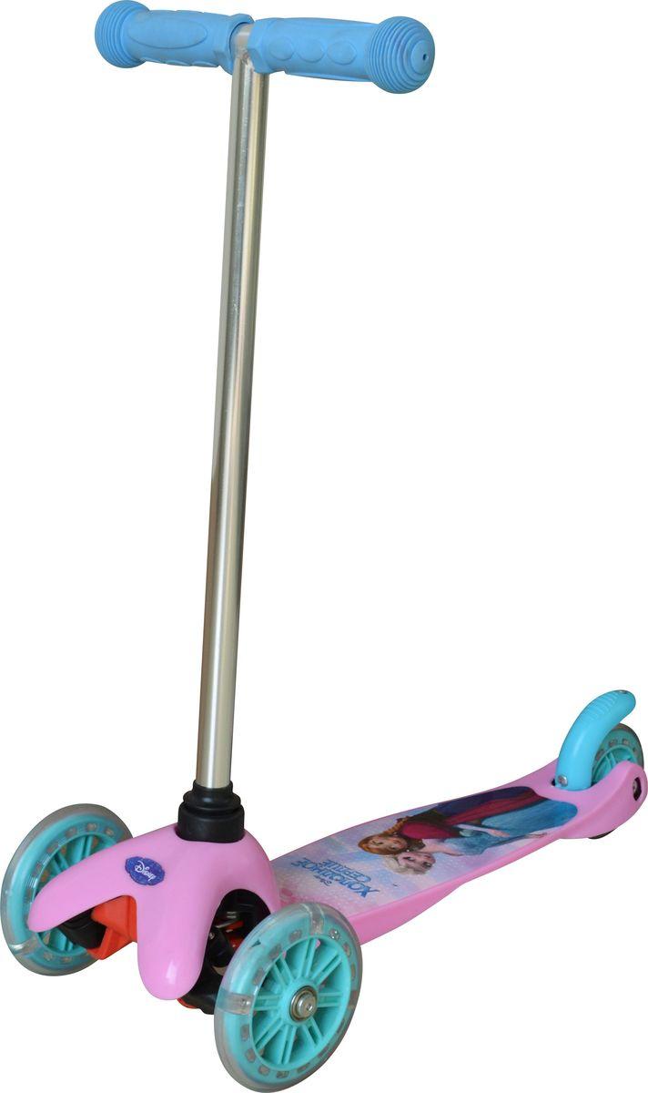 Самокат детский трехколесный 1 Toy Disney Холодное Сердце, со светящимися колесами, цвет: фиолетовый. Т58418Z90 blackСамокат трехколесный, управляется наклоном