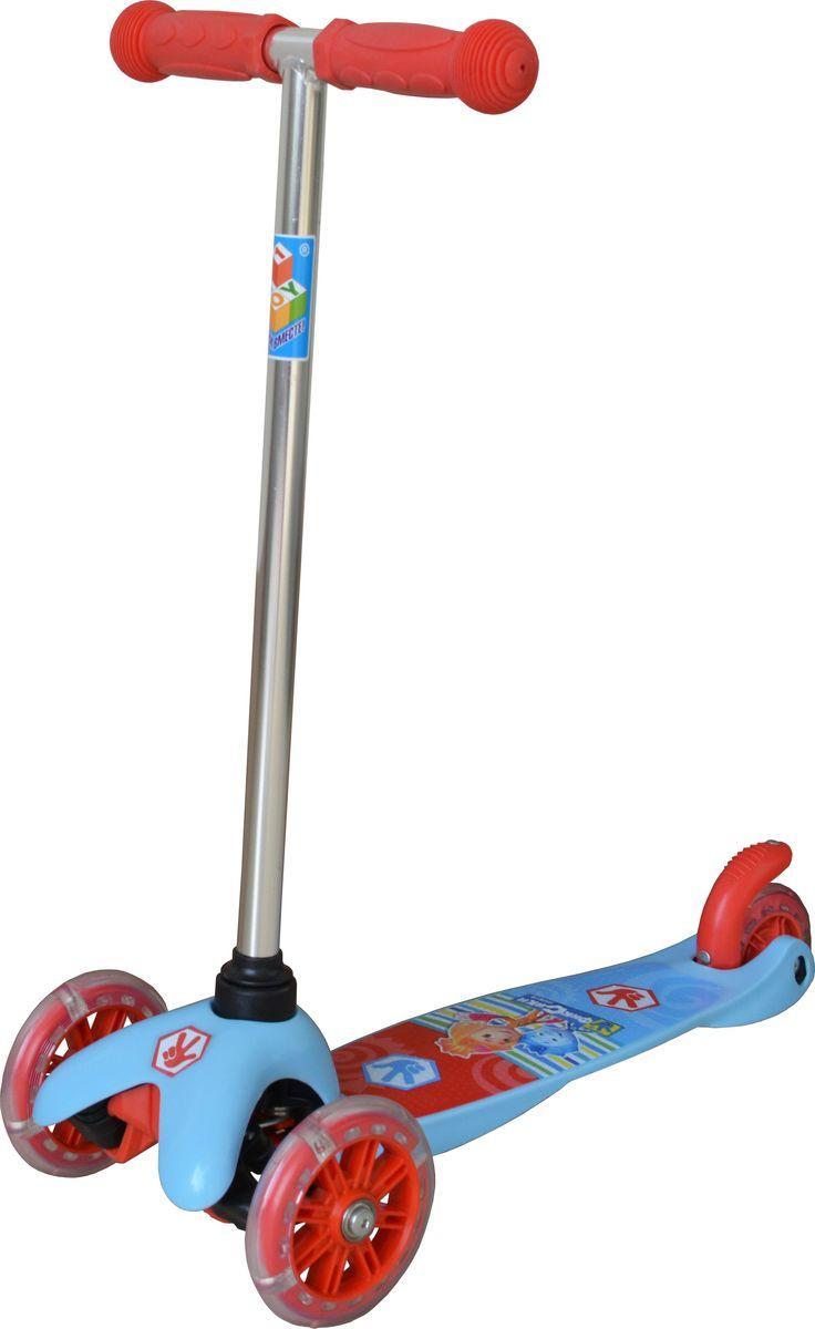 Самокат детский трехколесный 1 Toy Фиксики, со светящимися колесами, цвет: голубой. Т58463Т58463Самокат трехколесный, управляется наклоном