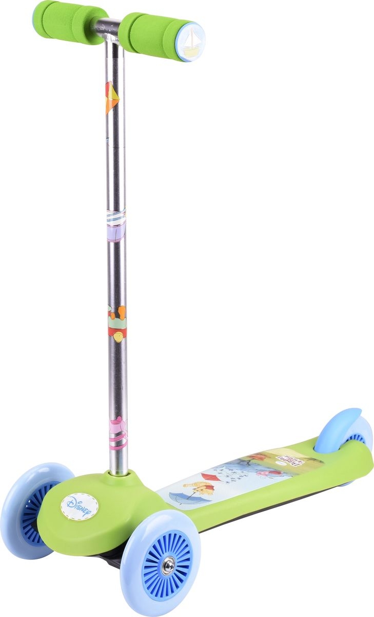 Самокат детский трехколесный 1 Toy Disney Винни-Пух, цвет: зеленый. Т59546Т59546Самокат трехколесный, управляется наклоном