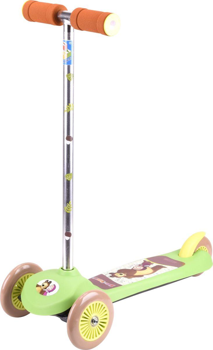 Самокат детский трехколесный 1 Toy Маша и Медведь, цвет: зеленый. Т59555Т59555Самокат трехколесный, управляется наклоном