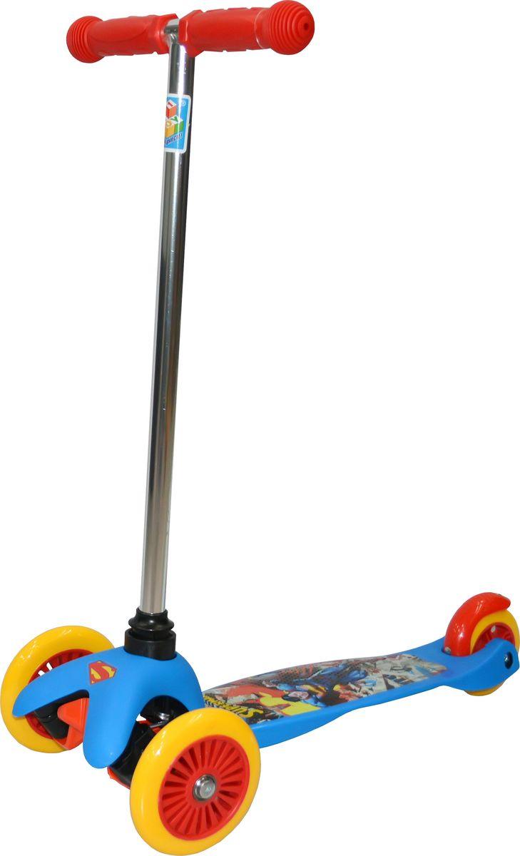 Самокат детский трехколесный 1 Toy Супермэн, цвет: синий. Т59561KBO-1014Самокат трехколесный, управляется наклоном