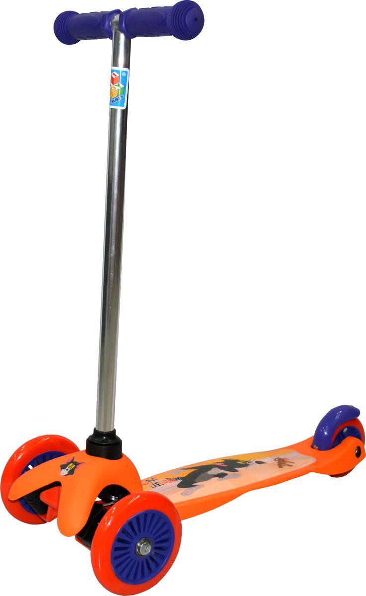 Самокат детский трехколесный 1 Toy Том и Джерри, цвет: оранжевый. Т59563Т59563Самокат трехколесный, управляется наклоном