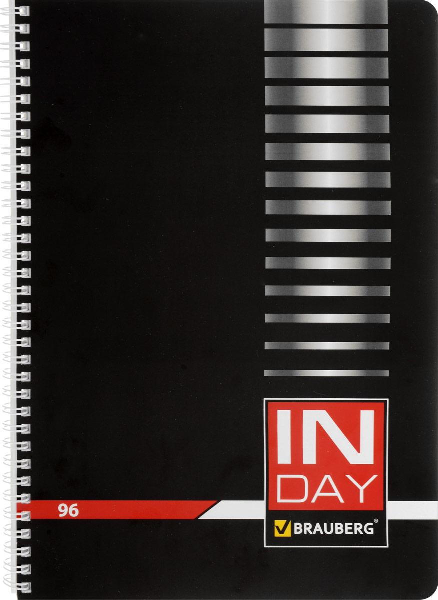 Brauberg Тетрадь In Day 96 листов в клетку цвет черный72523WDТетрадь Brauberg In Day подойдет как школьнику, так и студенту. Обложка тетради с закругленными углами выполнена из плотного картона, что позволит сохранить ее в аккуратном состоянии на протяжении всего времени использования.Внутренний блок тетради, соединенный металлическим гребнем, состоит из 96 листов белой бумаги. Стандартная линовка в клетку голубого цвета без полей. Страницы тетради дополнены микроперфорацией для удобного отрыва и отверстиями для колец.