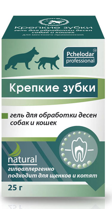 Гель для животных Пчелодар Крепкие зубки, для обработки десен0120710Эффективный препарат Крепкие зубки гель предназначен для профилактики различных заболеваний ротовой полости у животных. Активные экологически чистые компоненты препарата Крепкие зубки глубоко и быстро проникают в мягкие ткани и слизистую оболочку полости рта животного, оказывая выраженное противовоспалительное, антисептическое, легкое анестезирующее и регенерирующее действие. Содержание натурального экстракта прополиса и сбора рав позволяет при регулярном использовании препарата Крепкие зубки бережно и эффективно ухаживать за ротовой полостью, профилактировать образование налета и зубного камня. Ментол, входящий в состав, помогает быстро устранить неприятный специфический запаха из пасти животного. Гель Крепкие зубки высокоэффективен при дискомфорте в ротовой полости (отечность, покраснение и болезненность десен) при прорезывании молочных зубов и при различных заболеваниях полости рта у животных.СОСТАВ:экстракт прополиса, эфирное масло мяты, ментол, экстракты ромашки, календулы, эвкалипта, шалфея, коры дуба, подорожника, диметилсульфоксид, Д-пантенол, карбомер, вода очищенная.ПОКАЗАНИЯ:препарат Крепкие зубки показан для профилактики образования зубного налета и камня, для устранения неприятного запаха из пасти; при воспалительных процессах и при прорезывании молочных зубов. А также в качестве вспомогательного средства при острых и хронических заболеваний ротовой полости: стоматит (в том числе афтозный), гингивит, периодонтит, пародонтит, пародонтоз, периодонтальный абсцесс, постэкстракционный альвеолит, травмы и т.д.Препарат Крепкие зубки рекомендовано использовать при любых хирургических вмешательствах в ротовой полости (после удаления зубов, зубного налета или камня у животного), для профилактики осложнений.СПОСОБ ПРИМЕНЕНИЯ:препарат Крепкие зубки наносят в достаточном количестве на слизистые оболочки десен 2-3 раза в день в течение 7-10 дней. При необходимости гигиенические процедуры можно продол